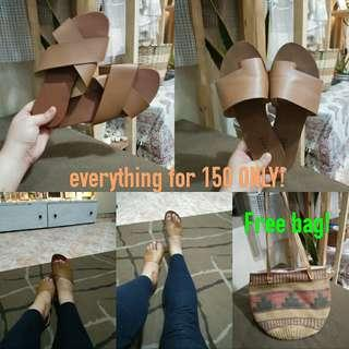 BOTH FOR 150 ONLY - size 7 sandals free boho bag!!