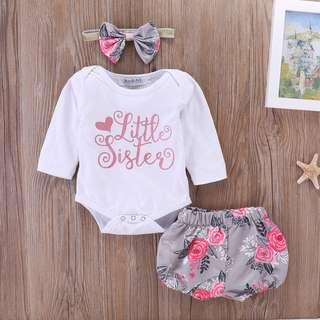 🚚 [IN-STOCK] Little Sisters White Long Sleeve Romper & Floral Print Pant with Headband (NCR 041)