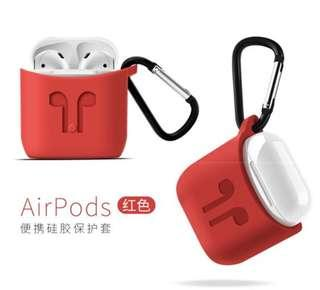 Red Airpod protection sleeve + white anti loss whote landard