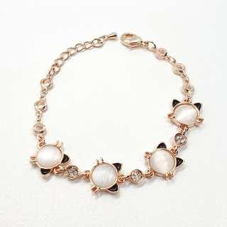 🚚 Cat Charms Rose Gold Bracelets with Crystals