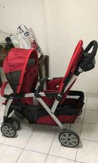 UN-USED CHICCO TWIN SEATER BABY STROLLER