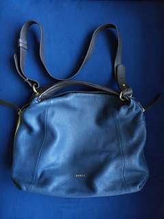 Pre-Loved Blue Furla Leather Hand Bag