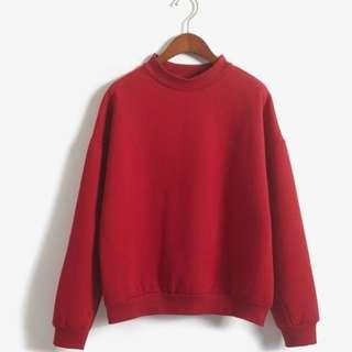red mock neck pullover