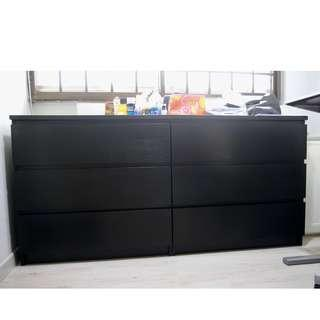 Chest of 3 drawers, black - 2 units
