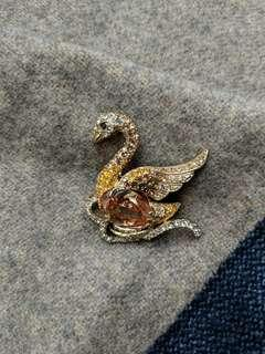 Jeweled Swan Clothing pin