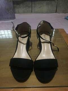 Black suede heeled sandals