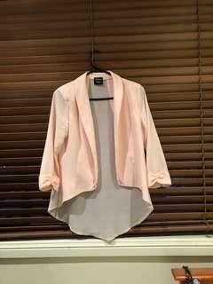 Pink cardigan polyester see through size 8