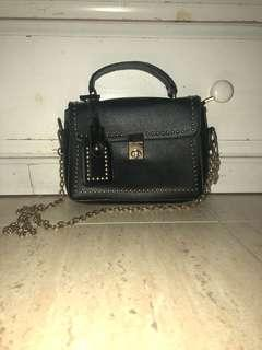 Black side bag with gold studs