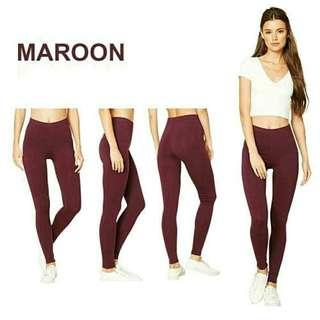 Fashionable Maroon Plain Leggings