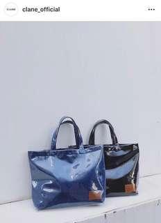 日本品牌Clane丹寧布PVC托特包/黑色