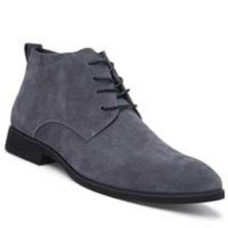 Fashion Genuine Leather Men Shoes Lace Up Formal Casual Business Wedding  Boots (GRAY) 44 063958f5f3