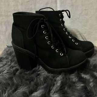 H&M Divided Laced-up High-heeled Boots