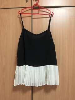 black pleated top with buttons
