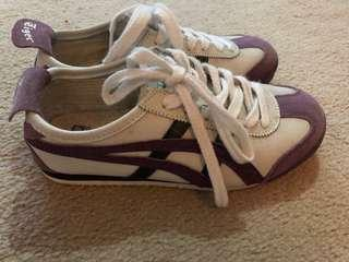 Onitsuka tigers white and purple sneakers