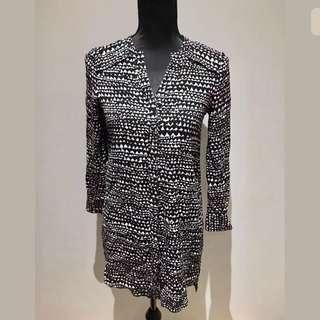 Witchery sz 4/XS black white women shirt dress work career casual loose fit
