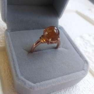 #sellfaster    👑Natural  Copper / Brown Rutilated Quartz Crystal Ring   🌠Gemstone size: 8.8mm  👑天然順髮滿髮銅髮晶水晶戒指
