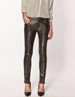 Zara metallic snake-print pants