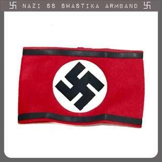 World War Two Nazi Swastika Armband Velcro Gestapo SS Hitler Third Reich black stripes