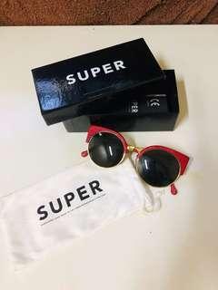 RETROSUPERFUTURE Red Leather Sunglasses