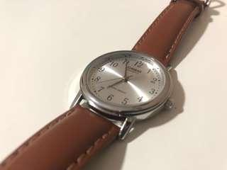 Casio Men's Analog Brown Leather Strap Watch MTP1095E-7B