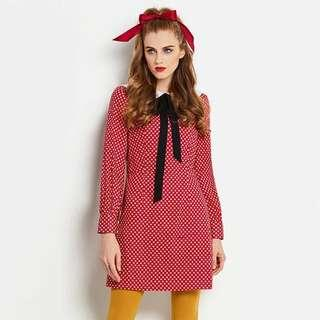 Polka dot with black bow tie ribbon Peter Pan dress