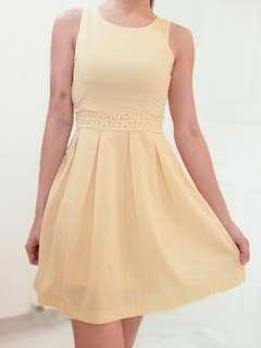 Free postage Yellow young cute flare skater dress
