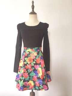 Embellished floral print lace dress
