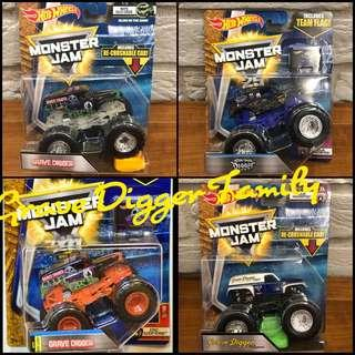 🚚 Hot Wheels Grave Digger Family Pack of 4 1:64