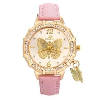 Pink Butterfly Rhinestone Watch (no battery, not working)