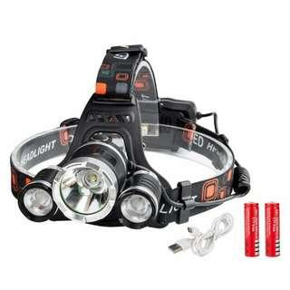Headlights full set charger and batteries. 3 leds New in box