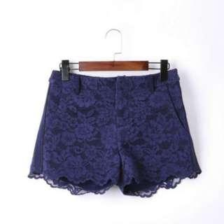 Lace Flower Printed  Shorts
