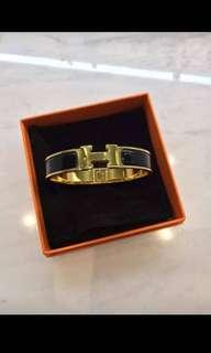 Hermes Clic Clac Black with Gold Hardware
