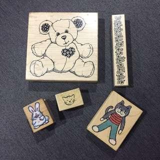 5 pcs Rubber stamps set