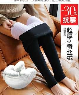 🚚 全新 新品 超厚 蠶絲絨 保暖褲 內搭褲 粉紫色