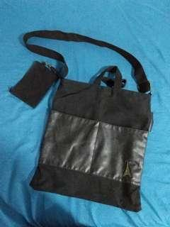 Black long sling/hand bag with small pouch