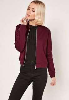 Burgundy jersey bomber jacket- petite