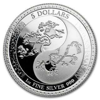 2018 托克勞太極陰陽平衡 .999精鑄銀幣1盎司 (反向精鑄系列) -- 包保護圓盒