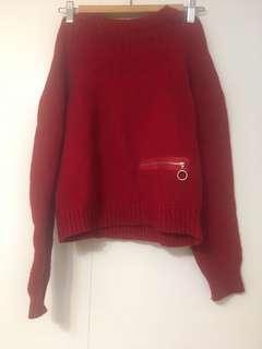 🚚 正韓紅色毛衣