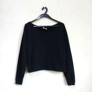 Penshoppe Black Cropped Pullover