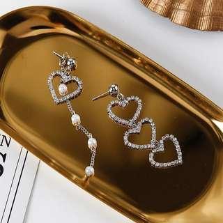 Heart-Shaped Pearl Tassel Earrings