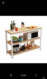 Multi-functional table with shelves