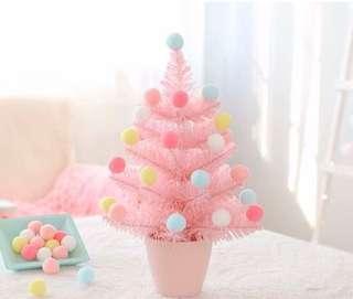限量 訂造🎄2018 韓國設計新款粉紅甜美 彩虹波波 櫻花粉 聖誕樹 餐廳酒店家具 擺設 裝飾 禮物 PREORDER - Christmas Tree Pink With Rainbow Balls Home Decoration Gift 30 cm  ( 一棵)