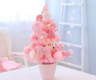 限量 訂造🎄2018 韓國設計新款粉紅甜美 連天使波波公仔裝飾+LED燈 櫻花粉 聖誕樹 餐廳酒店家具 擺設 裝飾 禮物 PREORDER - Christmas Tree Pink With LED Light & Decoration Dolls Home Gift 45 cm  ( 一棵)