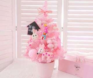 限量 訂造🎄2018 韓國設計新款粉紅甜美 連兔仔鹿仔雪人波波公仔裝飾+LED燈 櫻花粉 聖誕樹 餐廳酒店家具 擺設 裝飾 禮物 PREORDER - Christmas Tree Pink With LED Light & Decoration Dolls Home Gifts 45 cm  ( SET B 一棵)