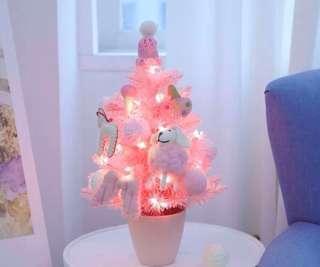 限量 訂造🎄2018 韓國設計新款粉紅甜美 連天使富貴狗羊波波公仔裝飾+LED燈 櫻花粉 聖誕樹 餐廳酒店家具 擺設 裝飾 禮物 PREORDER - Christmas Tree Pink With LED Light & Decoration Dolls Gift 45 cm  ( SET C 一棵)