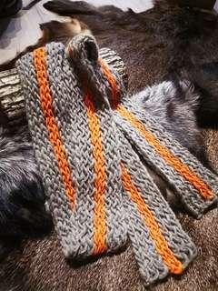 Designer woven orange grey scarf