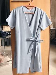 Sky Blue Wrap Dress