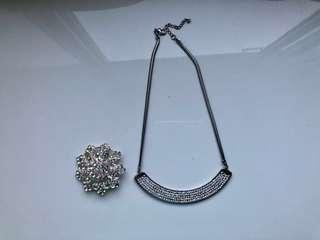 BUNDLE! Silver necklace and Pin
