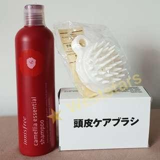 Innisfree Camellia Essential Shampoo + White Silicone Hair Scalp Massage Brush