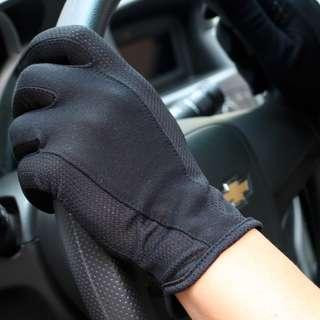 Anti Slip Breathable Material Black Gloves Motorbike Car Gym Scooter Bike UV Light Weight (free size)